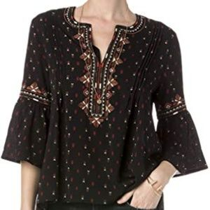 Miss Me Bell Sleeve Embroidered Boho Blouse